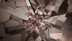 Abstract 3D Rendering of Cracked Surface. Modern background design, wall destruction royalty free illustration