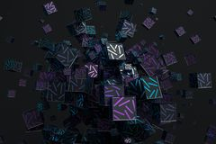 Abstract 3D Rendering of Cubes. Abstract 3d rendering of geometric shapes. Composition with cubes. Modern background design for poster, cover, branding, banner Royalty Free Stock Image