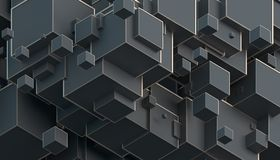 Abstract 3D Rendering of Cubes. Abstract 3d rendering of geometric shapes. Composition with cubes. Modern background design for poster, cover, branding, banner Royalty Free Stock Photography