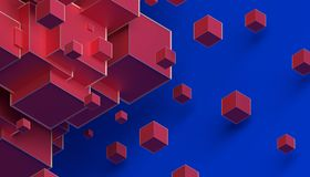 Abstract 3D Rendering of Cubes. Abstract 3d rendering of geometric shapes. Composition with cubes. Modern background design for poster, cover, branding, banner Royalty Free Illustration