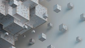 Abstract 3D Rendering of Cubes. Abstract 3d rendering of geometric shapes. Composition with cubes. Modern background design for poster, cover, branding, banner Vector Illustration