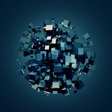 Abstract 3D Rendering of Dark Cubes. 3D rendering of dark cubes. Sci-fi background. Abstract sphere in empty space. Futuristic shape Royalty Free Stock Image