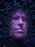 Abstract 3d rendering dark plastic shiny rumpled face. With pink dots Royalty Free Stock Image