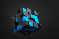 Abstract 3d rendering of flying cube. Sci fi shape in empty space. Futuristic background vector illustration