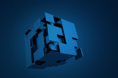 Abstract 3D Rendering of Flying Cube Royalty Free Stock Photos