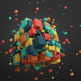 Abstract 3D Rendering of Flying Cubes. Abstract 3d rendering of chaotic particles. Colored cubes in empty space. Colorful background Stock Photo