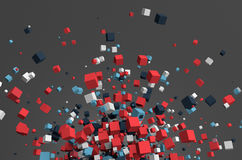 Abstract 3D Rendering of Flying Cubes. Abstract 3d rendering of chaotic particles. Colored cubes in empty space. Colorful background Royalty Free Stock Photography