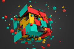 Abstract 3D Rendering of Flying Cubes. Abstract 3d rendering of chaotic particles. Colored cubes in empty space. Colorful background Royalty Free Stock Images