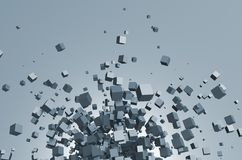 Abstract 3d rendering of flying cubes Royalty Free Stock Image