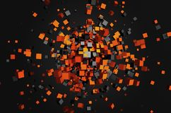 Abstract 3d rendering of flying cubes. Abstract 3d rendering of chaotic particles. Flying cubes in empty space. Futuristic background Stock Photography