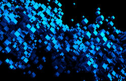 Abstract 3D Rendering of Flying Cubes. Abstract 3d rendering of chaotic particles. Flying cubes in empty space. Futuristic background Royalty Free Stock Image