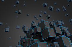 Abstract 3D Rendering of Flying Cubes. Abstract 3d rendering of chaotic particles. Futuristic cubes in empty space. Sci-fi background Stock Photo