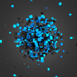 Abstract 3D Rendering of Flying Cubes. Abstract 3d rendering of chaotic particles. Futuristic cubes in empty space. Sci-fi background Royalty Free Stock Photo
