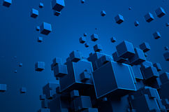 Abstract 3D Rendering of Flying Cubes. Abstract 3d rendering of chaotic particles. Futuristic cubes in empty space. Sci-fi background Royalty Free Stock Photos