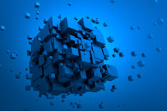 Abstract 3d rendering of flying cubes Stock Photos