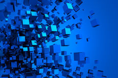 Abstract 3d rendering of flying cubes. Abstract 3d rendering of chaotic particles. Sci fi cubes in empty space. Futuristic background Stock Photos