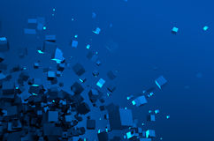 Abstract 3d rendering of flying cubes. Abstract 3d rendering of chaotic particles. Sci fi cubes in empty space. Futuristic background Royalty Free Stock Photos