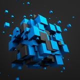 Abstract 3d rendering of flying cubes. Abstract 3d rendering of chaotic particles. Sci fi cubes in empty space. Futuristic background Stock Photography