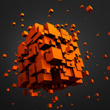 Abstract 3D Rendering of Flying Cubes. Abstract 3d rendering of chaotic particles. Sci fi cubes in empty space. Futuristic background Royalty Free Stock Photography