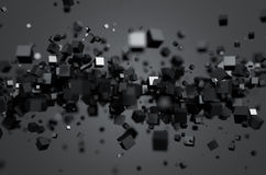 Abstract 3D Rendering of Flying Cubes Royalty Free Stock Photos