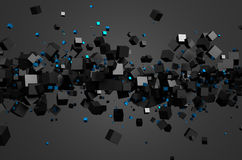 Abstract 3D Rendering of Flying Cubes. Abstract 3d rendering of chaotic particles. Sci fi cubes in empty space. Futuristic background Stock Photo