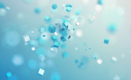 Abstract 3D Rendering of Flying Cubes. Stock Photography
