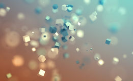 Abstract 3D Rendering of Flying Cubes. Royalty Free Stock Images