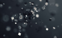 Abstract 3D Rendering of Flying Cubes. Abstract 3d rendering of chaotic cubes. Flying shapes in empty space. Dynamic background with bokeh, depth of field Stock Photos