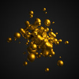 Abstract 3D Rendering of Flying Liquid. Stock Photo
