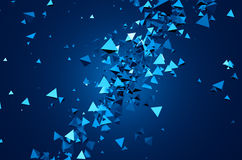 Abstract 3D Rendering of Flying Particles. Abstract 3d rendering of chaotic particles. Background of pyramids in empty space Royalty Free Illustration