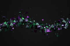 Abstract 3D Rendering of Flying Particles. Abstract 3d rendering of chaotic particles. Background with pyramids in empty space Stock Photography