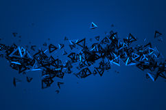 Abstract 3D Rendering of Flying Particles. Abstract 3d rendering of chaotic particles. Background with pyramids in empty space Stock Photos