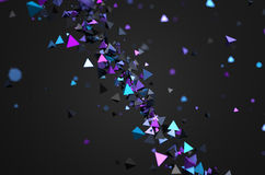 Abstract 3D Rendering of Flying Particles. Abstract 3d rendering of chaotic particles. Futuristic pyramids in empty space. Sci-fi background Vector Illustration
