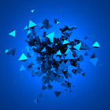 Abstract 3D Rendering of Flying Particles. Abstract 3d rendering of chaotic particles. Futuristic pyramids in empty space. Sci-fi background Royalty Free Illustration