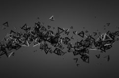 Abstract 3D Rendering of Flying Particles. Abstract 3d rendering of chaotic particles. Futuristic pyramids in empty space. Sci-fi background Royalty Free Stock Photo