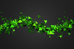 Abstract 3D Rendering of Flying Particles. Abstract 3d rendering of green chaotic particles. Background of pyramids in empty space Royalty Free Stock Image
