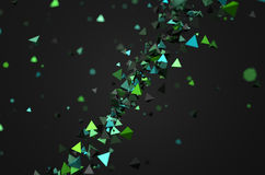 Abstract 3D Rendering of Flying Particles. Abstract 3d rendering of green chaotic particles. Background of pyramids in empty space Stock Images