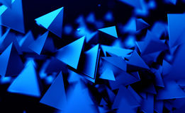 Abstract 3D Rendering of Flying Polygonal Shapes. Abstract 3d rendering of chaotic low poly shapes. Flying polygonal pyramids in empty space. Futuristic Royalty Free Stock Photo