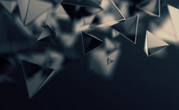 Abstract 3D Rendering of Flying Polygonal Shapes. Abstract 3d rendering of chaotic low poly shapes. Flying polygonal pyramids in empty space. Futuristic vector illustration