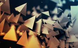 Abstract 3D Rendering of Flying Polygonal Shapes. Abstract 3d rendering of chaotic low poly shapes. Flying polygonal pyramids in empty space. Futuristic royalty free illustration
