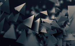 Abstract 3D Rendering of Flying Polygonal Shapes. Abstract 3d rendering of chaotic low poly shapes. Flying polygonal pyramids in empty space. Futuristic stock illustration