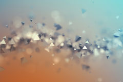 Abstract 3D Rendering of Flying Polygonal Shapes. Abstract 3d rendering of chaotic low poly shapes. Flying polygonal pyramids in empty space. Futuristic Stock Photos
