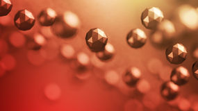 Abstract 3D Rendering of Flying Polygonal Spheres Royalty Free Stock Images