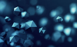 Abstract 3D Rendering of Flying Polygonal Spheres Royalty Free Stock Photography