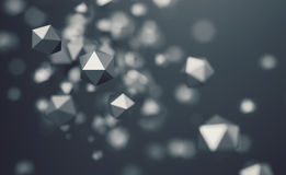 Abstract 3D Rendering of Flying Polygonal Spheres Royalty Free Stock Image