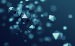 Abstract 3D Rendering of Flying Polygonal Spheres. Abstract 3d rendering of chaotic low poly particles. Flying polygonal spheres in empty space. Futuristic Royalty Free Stock Photos