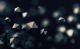 Abstract 3D Rendering of Flying Polygonal Spheres. Abstract 3d rendering of chaotic low poly particles. Flying polygonal spheres in empty space. Futuristic Royalty Free Stock Photography