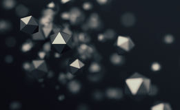 Abstract 3D Rendering of Flying Polygonal Spheres. Abstract 3d rendering of chaotic low poly particles. Flying polygonal spheres in empty space. Futuristic Stock Photography