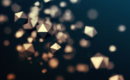 Abstract 3D Rendering of Flying Polygonal Spheres Stock Photos