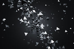 Abstract 3d rendering of flying pyramids. Abstract 3d rendering of chaotic particles. Sci fi pyramids in empty space. Futuristic background vector illustration